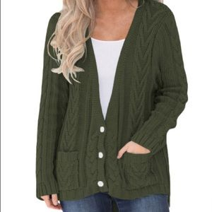 Sweaters - Green Knitted Deep V/ Cardigan